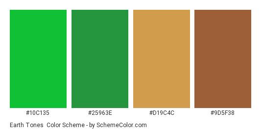 Earth Tones - Color scheme palette thumbnail - #10C135 #25963E #D19C4C #9D5F38