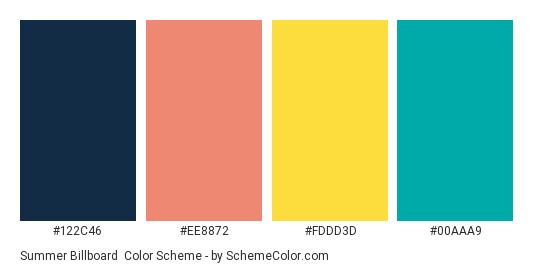 Summer Billboard - Color scheme palette thumbnail - #122c46 #ee8872 #fddd3d #00aaa9