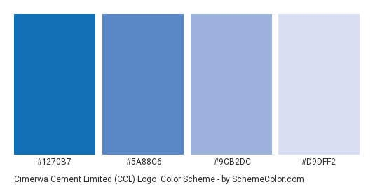 Cimerwa Cement Limited (CCL) Logo - Color scheme palette thumbnail - #1270b7 #5a88c6 #9cb2dc #d9dff2