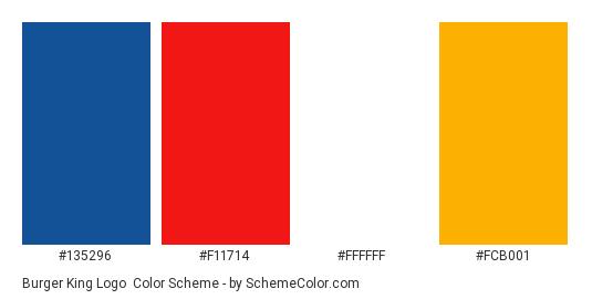 Burger King Logo - Color scheme palette thumbnail - #135296 #f11714 #ffffff #fcb001