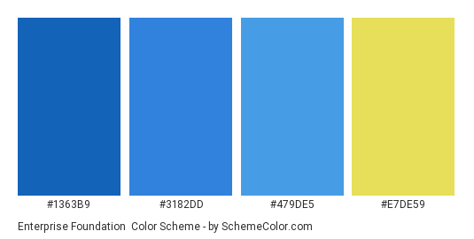 Enterprise Foundation - Color scheme palette thumbnail - #1363b9 #3182dd #479de5 #e7de59