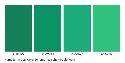 Ramadan Green - Color scheme palette thumbnail - #13805A #0A9264 #1AAC7A #2FC27D