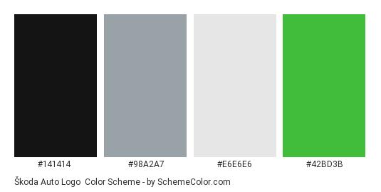 Škoda Auto Logo - Color scheme palette thumbnail - #141414 #98a2a7 #e6e6e6 #42bd3b