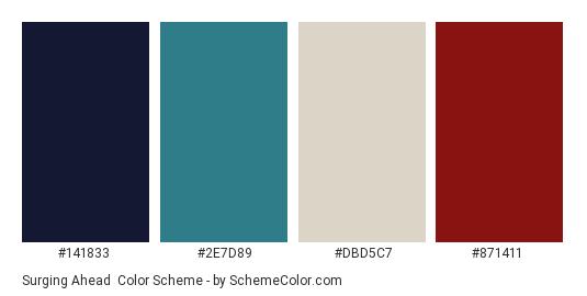Surging Ahead - Color scheme palette thumbnail - #141833 #2E7D89 #DBD5C7 #871411