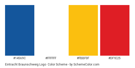 Eintracht Braunschweig Logo - Color scheme palette thumbnail - #14569c #ffffff #fbbf0f #df1e25