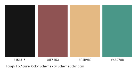 Tough to Aquire - Color scheme palette thumbnail - #151515 #8f5353 #e4b983 #4a9788