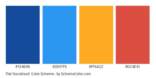 Flat Socialised - Color scheme palette thumbnail - #154B9B #2B97F0 #FFAA22 #DC4E41