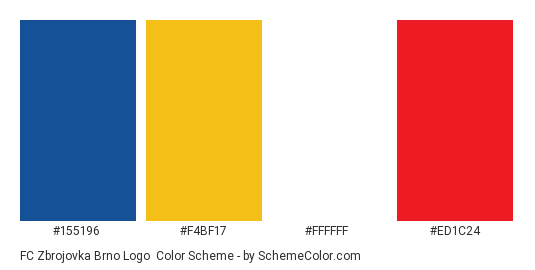 FC Zbrojovka Brno Logo - Color scheme palette thumbnail - #155196 #f4bf17 #ffffff #ed1c24