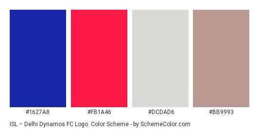 ISL – Delhi Dynamos FC Logo - Color scheme palette thumbnail - #1627a8 #fb1a46 #dcdad6 #bb9993