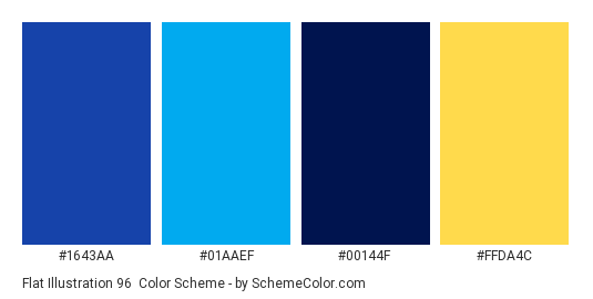 Flat Illustration 96 - Color scheme palette thumbnail - #1643aa #01aaef #00144f #ffda4c