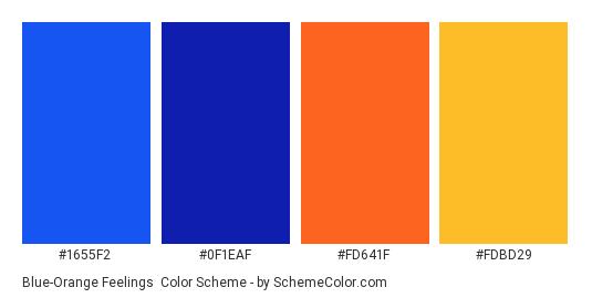 Blue-Orange Feelings - Color scheme palette thumbnail - #1655f2 #0f1eaf #fd641f #fdbd29