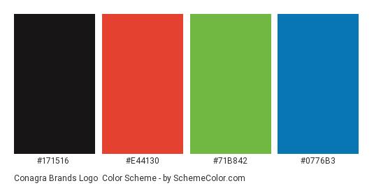 Conagra Brands Logo - Color scheme palette thumbnail - #171516 #e44130 #71b842 #0776b3