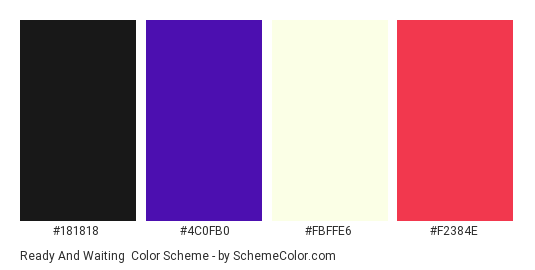 Ready and Waiting - Color scheme palette thumbnail - #181818 #4c0fb0 #fbffe6 #f2384e