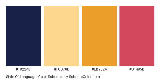 Style of Language - Color scheme palette thumbnail - #182248 #FCD78D #EB9E2A #D1495B