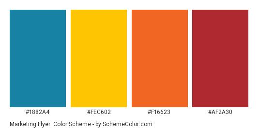 Marketing Flyer - Color scheme palette thumbnail - #1882a4 #fec602 #f16623 #af2a30