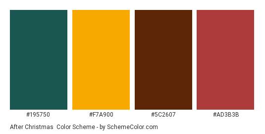 After Christmas - Color scheme palette thumbnail - #195750 #F7A900 #5C2607 #AD3B3B