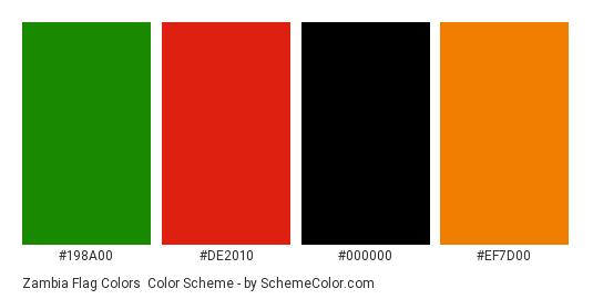 Zambia Flag Colors - Color scheme palette thumbnail - #198a00 #de2010 #000000 #ef7d00