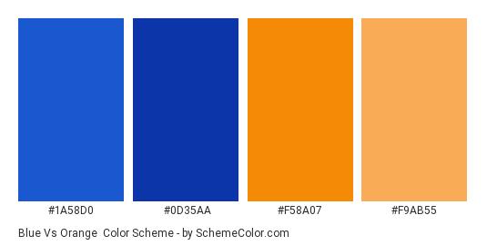 Blue vs Orange - Color scheme palette thumbnail - #1A58D0 #0D35AA #F58A07 #F9AB55