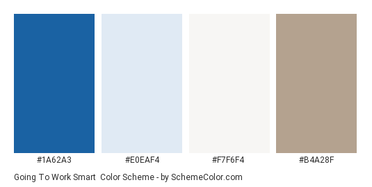 Going to Work Smart - Color scheme palette thumbnail - #1A62A3 #E0EAF4 #F7F6F4 #B4A28F