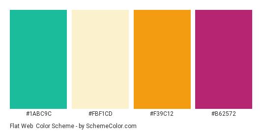 Flat Web - Color scheme palette thumbnail - #1ABC9C #FBF1CD #F39C12 #B62572
