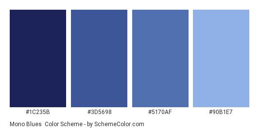 Mono Blues - Color scheme palette thumbnail - #1C235B #3D5698 #5170AF #90B1E7