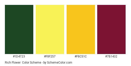 Rich Flower - Color scheme palette thumbnail - #1D4723 #F8F257 #F8C51C #7B1432