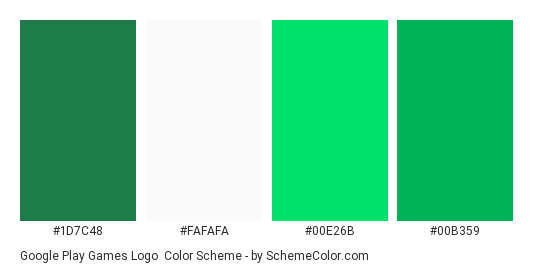 Google Play Games Logo - Color scheme palette thumbnail - #1D7C48 #FAFAFA #00E26B #00B359