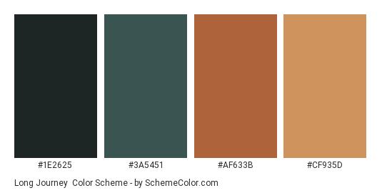 Long Journey - Color scheme palette thumbnail - #1E2625 #3A5451 #AF633B #CF935D