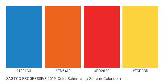 SAGTCO PROGRESSIVE 2019 - Color scheme palette thumbnail - #1E81C3 #ED641E #ED2828 #FCD33D