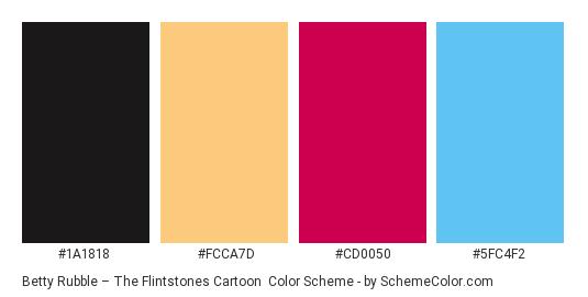 Betty Rubble – The Flintstones Cartoon - Color scheme palette thumbnail - #1a1818 #fcca7d #cd0050 #5fc4f2