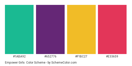 Empower Girls - Color scheme palette thumbnail - #1aba92 #652776 #f1bc27 #e33659