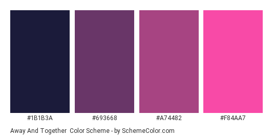 Away and Together - Color scheme palette thumbnail - #1b1b3a #693668 #a74482 #f84aa7