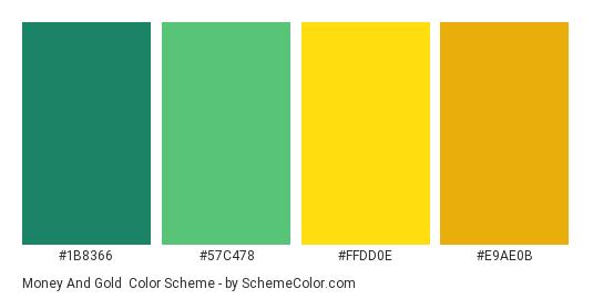 Money and Gold - Color scheme palette thumbnail - #1b8366 #57c478 #ffdd0e #e9ae0b