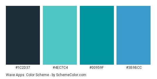Wave Apps - Color scheme palette thumbnail - #1c2d37 #4ec7c4 #00959f #3b9bcc