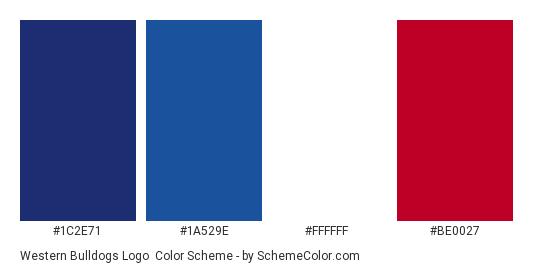Western Bulldogs Logo - Color scheme palette thumbnail - #1c2e71 #1a529e #ffffff #be0027