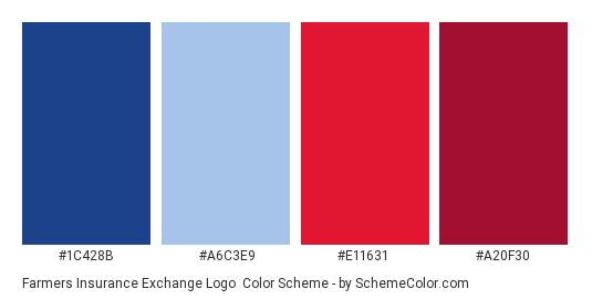 Farmers Insurance Exchange logo - Color scheme palette thumbnail - #1c428b #a6c3e9 #e11631 #a20f30