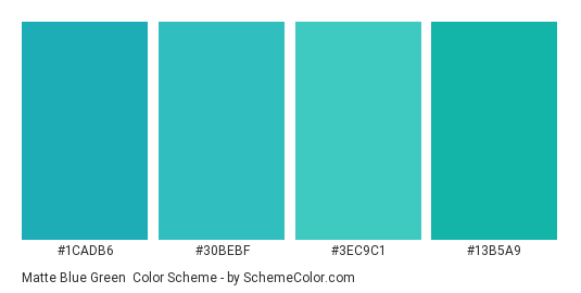 Matte Blue Green - Color scheme palette thumbnail - #1cadb6 #30bebf #3ec9c1 #13b5a9