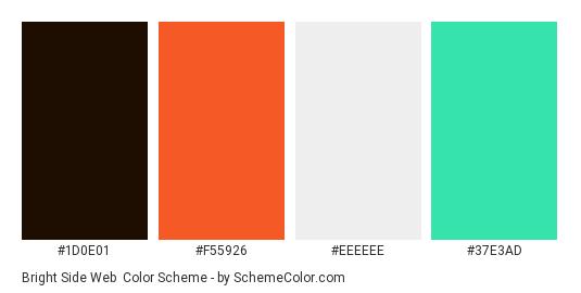 Bright Side Web - Color scheme palette thumbnail - #1d0e01 #f55926 #eeeeee #37e3ad