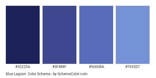 Blue Lagoon - Color scheme palette thumbnail - #1d225a #3f488f #566dba #7692d7