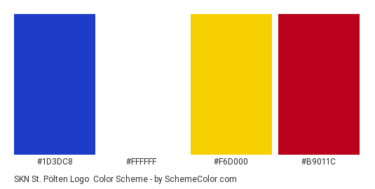 SKN St. Pölten Logo - Color scheme palette thumbnail - #1d3dc8 #ffffff #f6d000 #b9011c