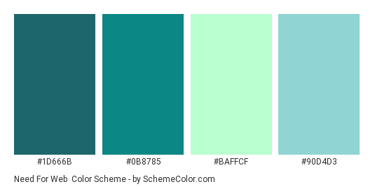 Need for Web - Color scheme palette thumbnail - #1d666b #0b8785 #baffcf #90d4d3