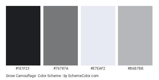 Snow Camouflage - Color scheme palette thumbnail - #1e1f23 #76787a #e7eaf2 #b6b7bb