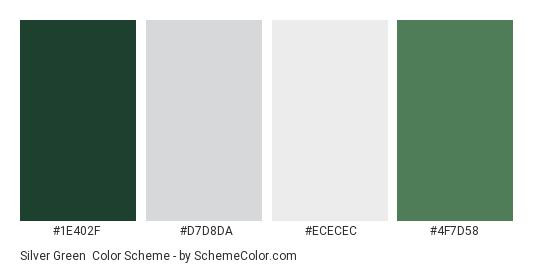 Silver Green - Color scheme palette thumbnail - #1e402f #d7d8da #ececec #4f7d58