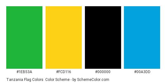 Tanzania Flag Colors - Color scheme palette thumbnail - #1eb53a #fcd116 #000000 #00a3dd