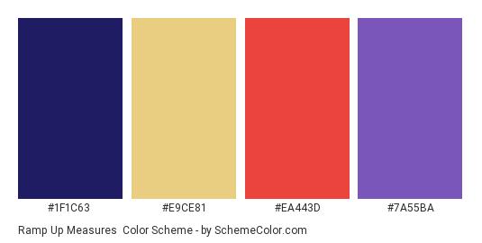 Ramp Up Measures - Color scheme palette thumbnail - #1f1c63 #e9ce81 #ea443d #7a55ba