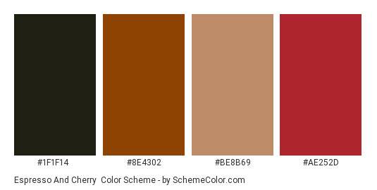 Espresso and Cherry - Color scheme palette thumbnail - #1f1f14 #8e4302 #be8b69 #ae252d