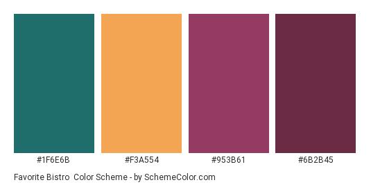 Favorite Bistro - Color scheme palette thumbnail - #1f6e6b #f3a554 #953b61 #6b2b45