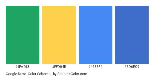 Google drive - Color scheme palette thumbnail - #1fa463 #ffd04b #4688f4 #3d6ec9
