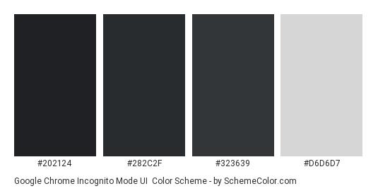 Google Chrome Incognito Mode UI - Color scheme palette thumbnail - #202124 #282C2F #323639 #D6D6D7