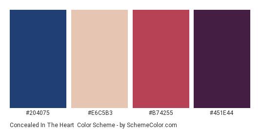 Concealed in the Heart - Color scheme palette thumbnail - #204075 #e6c5b3 #b74255 #451e44